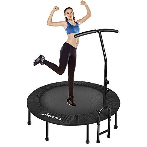MOVTOTOP Fitness Trampolin, 38/48 inch Indoor Trampolin, Faltbar Mini Fitness Trampolin für Kinder & Erwachsene, Trampolin für Zuhause(Schwarz) (48 Inch)