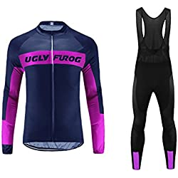 Uglyfrog 2017 Nuevo De Invierno Mantener caliente Hombre Manga Larga Maillot Ciclismo +Bib Pantalones Sets with Gel Pad Winter Style