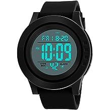 Reloj Digital para Hombre con cronómetro clásico electrónico LCD retroiluminado Hora Militar, 50 m Impermeable