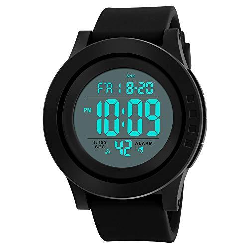 ea3626782cde Reloj Digital para Hombre con cronómetro clásico electrónico LCD  retroiluminado Hora Militar