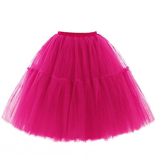 Babyonline Damen Tüllrock 5 Lage Prinzessin Kleider Knielang Petticoat Ballettrock Unterrock Pettiskirt Swing Einheitsgröße - Fuchsie -