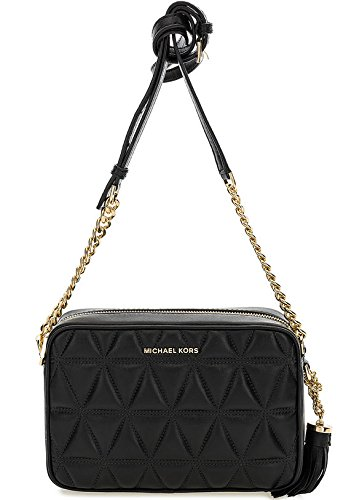 MICHAEL by Michael Kors Ginny Black Quilted Leather Camera Bag ... : michael kors black quilted handbag - Adamdwight.com