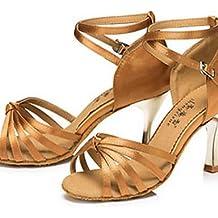 Moda moderna sandalias mujer personalizables Zapatos de baile latino de satén satén Sneakers Stiletto talón interior/exterior/Negro otros,bronce,US8.5/EU39/UK6.5/CN40