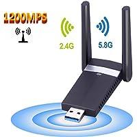 Adaptateurs USB Wifi, M.Way Clé Wifi USB 3.0 avec Antenne Double Bande AC1200Mbps Deux Fréquences 2,4/5 GHz 802.11n/g/b/a/ac Wi-Fi Dongle sans fil Compatible avec Linux / Windows XP / VISTA / 7 / 8/10, Mac OS X 10.6-10.12 1200Mbps