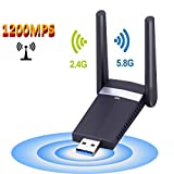 WLAN Adapter USB 3.0 AC1200Mbps WiFi Adapter Mini WLAN Stick, 802.11n/g/b/a/ac Dual Band 5GHz 866Mbps/ 2.4GHz 300Mbps für Windows 10/8.1/8/ 7/ XP/Vista (32/64bits), MAC, OS, usw