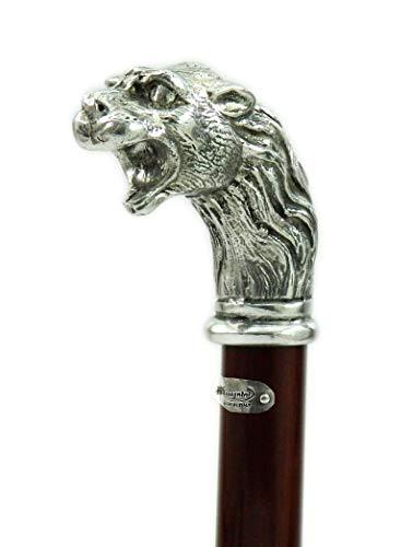 Spazierstock mit Löwe Zinn Farbe Silber Holz Antik Klassisch elegante personalisierbar Cavagnini unserer Produktion