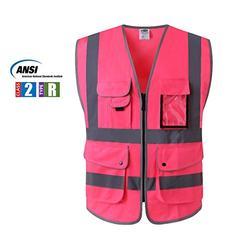 JKSafety 9 Pockets Class 2 High Visibility Zipper Front Safety Vest With Reflective Strips, Meets ANSI/ISEA Standards