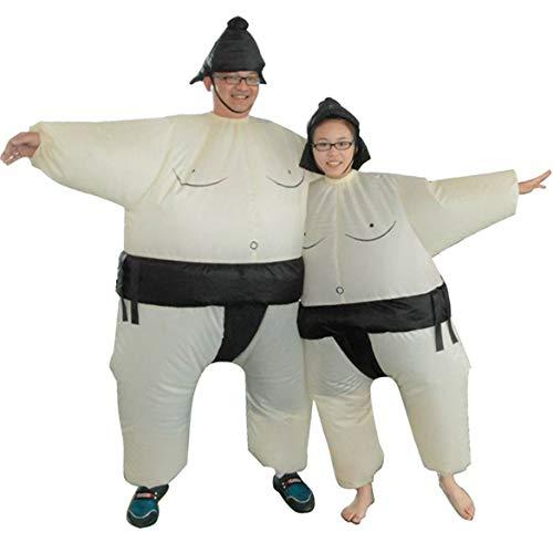 JohnJohnsen Fan Gonfiabile Sumo Dress Novità Fat Man and Woman Suite Fat Masked Suit Fancy Blow Up Dress Wrestler Costume (Bianco e Nero)