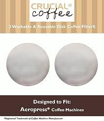 2 Crucial Coffee Washable & Reusable Coffee Filters Fit Aerobie AeroPress, Fits ALL Aerobie AeroPress Coffee & Espresso Machines, Designed & Engineered by Crucial Coffee