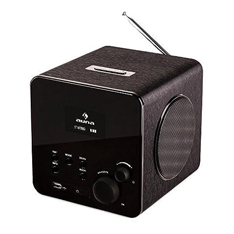 auna • Radio Gaga BK • Internetradio • Digitalradio • WLAN-Radio • LAN • DAB / DAB+ / UKW-Tuner mit RDS • AUX-Eingang • Line-Ausgang • MP3-USB-Port • Equalizer • Wecker • 10 Senderspeicher • Breitbandlautsprecher • dimmbares LCD-Display • Fernbedienung • schwarz