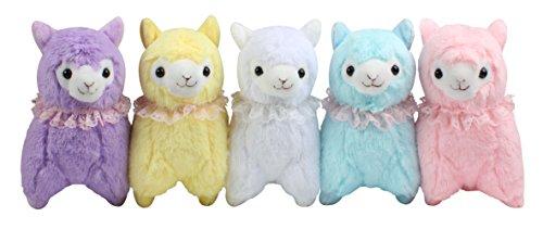 """KOSBON 7\"""" Packung mit 5 Plüsch Alpaka mit Spitze Schal, niedliches weiches angefülltes Tier-Spielzeug, beste Geschenke für Kinder."""