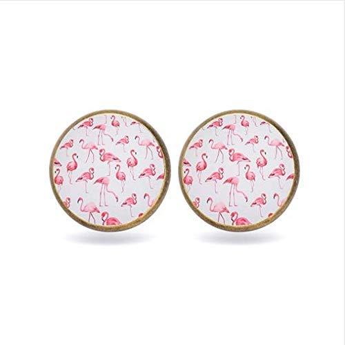 Ohrringe mit Flamingo-Blume, niedliche Tier-Vögel, Glas-Ohrringe, Mädchen-Schmuck