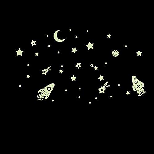 ufengke Espacio Exterior Fluorescente Pegatinas de Pared Estrellas Rockets Luna DIY Extraíble Vinilos para Dormitorio Sala de Estar