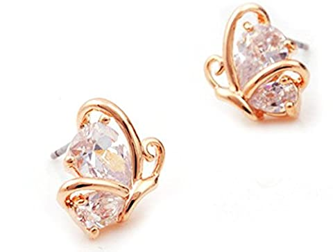Lily Jewellery Butterfly Swarovski Elements Crystal Rhinestone Gold Plated Stud Earrings for Women