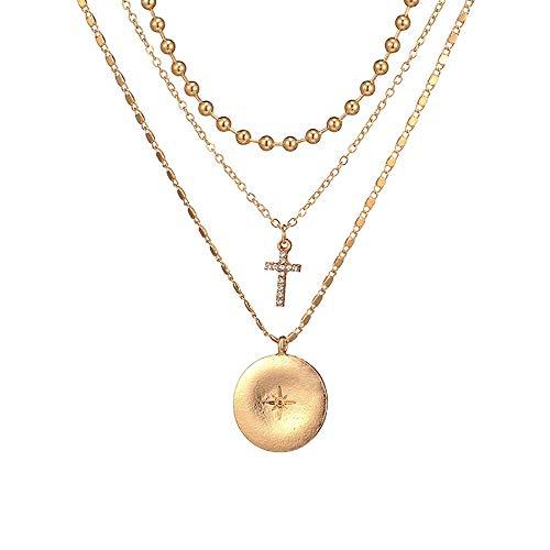 ZUXIANWANG Trendige Halskette Kreuz Crystal Multi Layer Anhänger Halsketten für Frauen goldene Münzen Bead Charm Halskette weiblichen Schmuck -