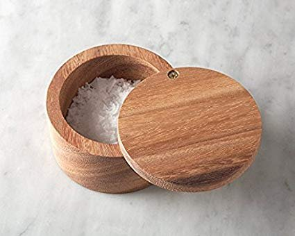White Whale Wooden Salt Box Container with Lid for Secure Strong Storage