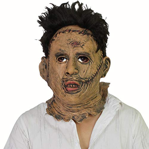 Kostüm Leatherface Realistische - YEMOPDB Thomas Leatherface Maske - Halloween Maske - Cosplay Kostüm Maske - Party Rave Maske - Erwachsene Und Kinder (Size : One Size)