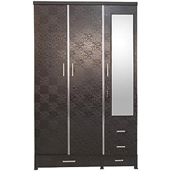 K K Furniture Wooden 3 Door Almirah With Mirror Ceres