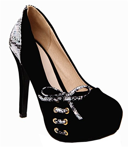 YE Damen High Heels Stiletto Wildleder Pumps mit Plateau und Schleife 12 Absatz Elegant Party Schlangenmuster Schuhe