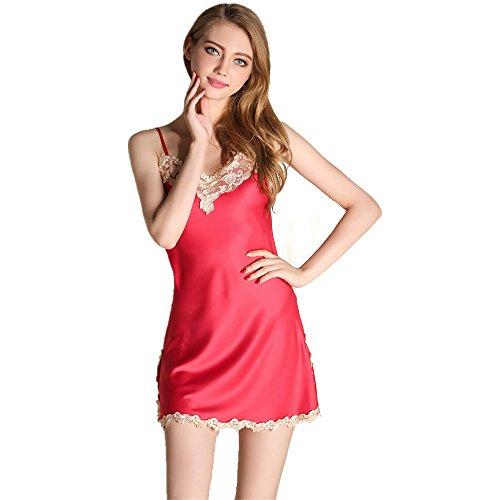 Elegant Sexy Spitzenbesatz Nachahmung Seide Rückenfrei Ärmellos Stickerei Lingeries Nachtwäsche Pyjama Rutscht für Damen und Mädchen Weinrot