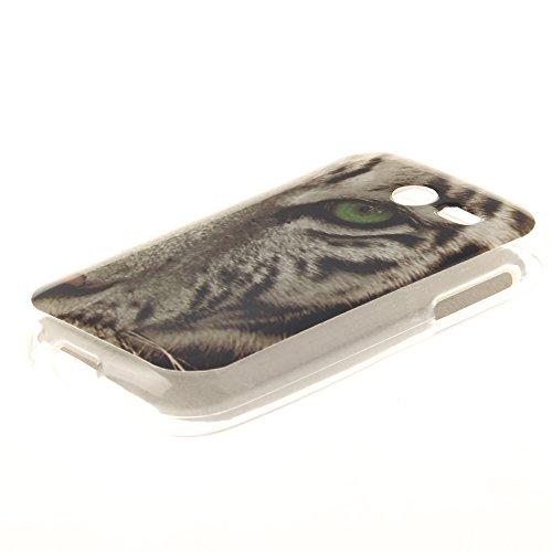 Samsung Galaxy Pocket 2 SM-G110 hülle,MCHSHOP Ultra Slim Skin Gel Schlank TPU Case Schutzhülle Silikon Silicone Schutzhülle Case Back Cover für Samsung Galaxy Pocket 2 SM-G110H - 1 Kostenlose Stylus P weiße tiger mit grünen augen
