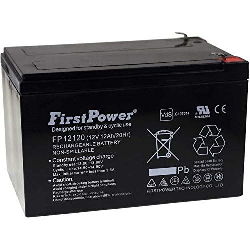 FirstPower Blei-Gel Akku FP12120 12Ah 12V VDs, 12V, Lead-Acid