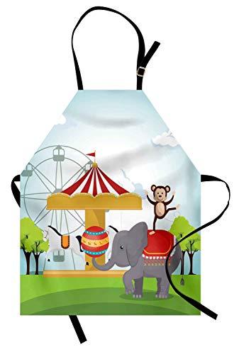 Zirkus Kostüm Affe - Karnevalsschürze, Affe und Elefant in einem Zirkus-Themenpark Festliche Kostüme Details Celebration, Unisex Kitchen Latzschürze mit verstellbarem Hals zum Kochen Backen Gartenarbeit, Multicolor