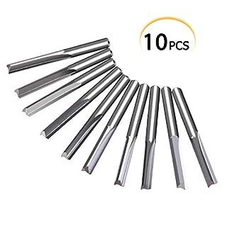 10tlg 2 Flöte Gerade Fräser, 3.175mm Wolfram Stahl Schaftfräser CNC Fräser für Holz MDF 22mm x 17mm