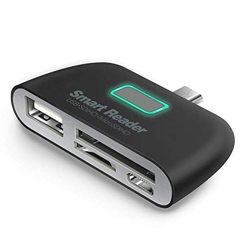 Classico New 4-in-1 Type C-USB OTG/TF/SD Smart Card Reader Adapter for ONEPLUS 6,6T 5,5T Mi A1,Mi A2,All All Type-c Smartphones