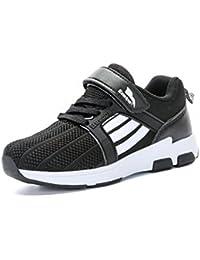 Unisex-Kinder Sneaker Rundzehen Laufschuhe Tragen Streifen Klettverschluss Atmungsaktiv Freizeit Trekking Anti-Rutsch Schuhe Dunkelblau-Rot 30 lKcR1