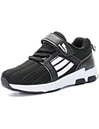 Unisex-Kinder Sneaker Rundzehen Laufschuhe Tragen Streifen Klettverschluss Atmungsaktiv Freizeit Trekking Anti-Rutsch Schuhe Dunkelblau-Rot 30