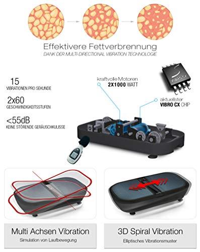 Sportstech Profi Vibrationsplatte VP300 mit 3D Wipp Vibrations Technologie + Bluetooth A2DP Musik, Riesige Fläche, 2 Kraftvolle Motoren + einmaliges Design + Trainingsbänder + Fernbedienung - 3