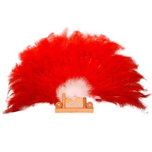 Andouy Retro Faltfächer/Handfächer/Papierfächer/Federfächer/Sandelholz Fan/Bambusfächer für Hochzeit, Party, Tanzen(26cm.Rot)