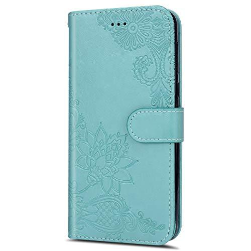 Handyhülle Kompatibel mit MOTO G6 Plus Schutzhülle Brieftasche Klapptasche Mädchen Luxus Blumen Muster Klapphülle Lederhülle Bookstyle Handytasche Flip Tasche Case Kartenfächer,Grün