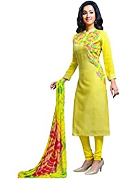 Manmandir Green Colour Linen Fabric Salwar Kameez Readymade with Chiffon Full Sleeves and Leggings Bottom