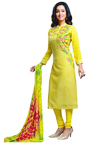 Manmandir Green Colour Linen Fabric Salwar Kameez Readymade with Chiffon Full Sleeves...