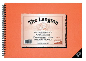 """Daler Rowner: Langton: Pad de Hojas de papel para Acuarelas 12x16"""", Not (Sin textura) 12 Hojas 425gms. (Espiraladas)"""