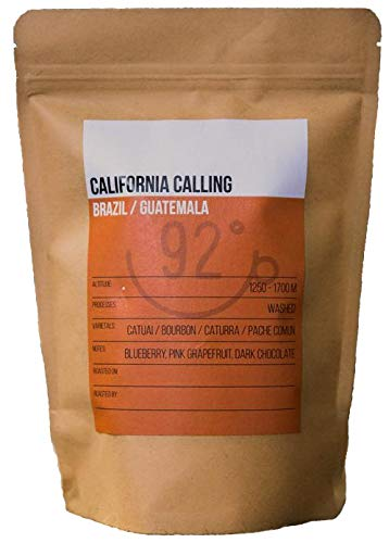 92 Degrees Coffee – California Calling – Small Batch, Hand Roasted in UK, Premium Speciality Fresh Ground Coffee (250g) Brazil/Guatemala Cafetiere (Coarse) Medium Roast