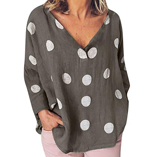 Makefortune  Shirts for Womens Casual Summer O-Neck Short Sleeves Plus Size Top T-Shirt Loose Blouse with Polka Dot Printing -