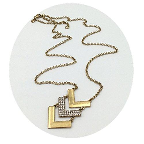 Dot & Line Authentic Kristall Pavé Chevron Anhänger Lange Halskette (Crew Line Grün)