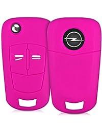 kwmobile Housse en silicone pour Opel 2-Bouton clef pliante de voiture housse étui de protection clés Key Case Cover en rose foncé