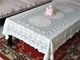 #7: Sellify 60*60cm Hollow Out Cream Color Tablecloth With Lace Tablecloth Crochet Embroidered Tablecloth for Christmas Wedding Decoration