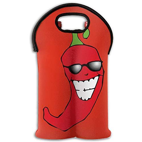 Red Chili Pepper Two Bottle Wine Carrier Tote Bag Neoprene Wine/Water Bottle Holder Keeps Bottles Protected Multicolor1 Bottle Neoprene Wine Tote Bag