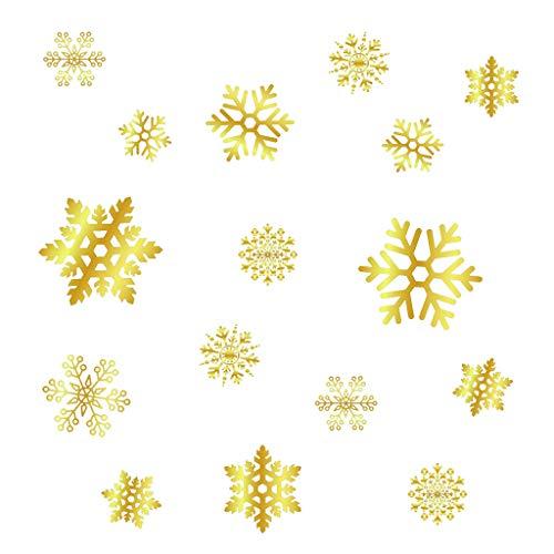 HLHN Weihnachtssticker Golden Elektrostatischer Aufkleber, PVC Wandtattoo, Weihnachtsschmuck, Weihnachten Schneeflocke Fensteraufkleber, Push-Pull Schiebetür Aufkleber, Abnehmbare Weihnachtsdeko (A)