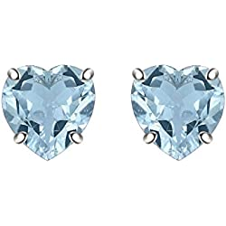 Silver Dew CZ Diamond Rhodium Plated On Pure 925 Sterling Silver Solitaire 5MM Heart Women Girls Earring