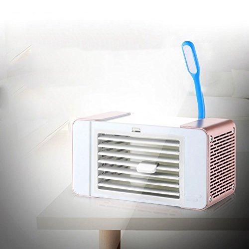 JiaQi Mini klimaanlage Kühlung Lüfter,Luftkühler mit,USB Portable Desktop Office Home Kühlung Luftbefeuchter-Rose Gold A 19x10x9cm(7x4x4)