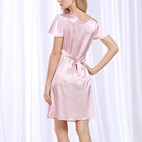 Zhhlaixing Fashion Silk Bridesmaid Bride Robe Women Short Satin Wedding Kimono Robes Sleepwear Nightgown Dress Woman Bathrobe Pajamas 2095# Pink