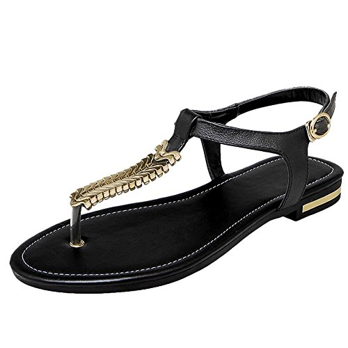 Mee Shoes Damen Schnalle flach Slingback Zehentrenner Sandalen Schwarz