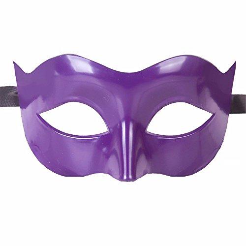 Gesichtsschutz Domino falsche Front Halloween Kostüm Tanz Maske Halbes Gesicht Tanz Maske Flache Maske männliche Maske Weiblich Dunkelviolett ()