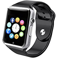 Pandaoo Wearable Bluetooth Smart Watch A1 Smart Health Pedometer Sleep Monitor Call/SMS/SNS Alert Wrist Watch Phone Uwatch with SIM Card Camera Slot for Android [Full Functions] IOS[Partial functions] (Silver)